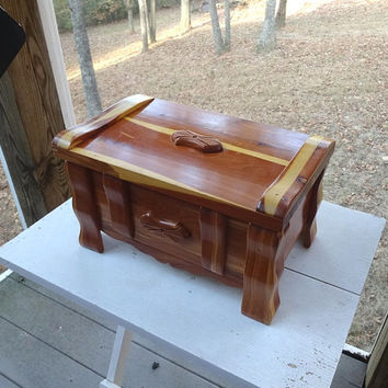 1960s Vintage Hand Made Large Cedar Jewelry Box, Treasure Chest with Carved Medallions, Large, 13 x 8.5 x 7.5 In. Vintage Cedar Treasure Box