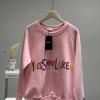 """Yves Saint Laurent"" Women Sequins All-match Fashion Letter Logo Round Neck  Long Sleeve Sweater Tops"
