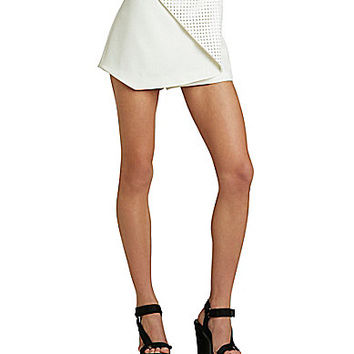 BCBGeneration Perforated Faux-Leather Skort - Whisper White