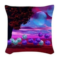 Bubble Garden Woven Throw Pillow> Bubble Garden, Wisdom, Nurturing> Diane Clancy's Fine Art Shop