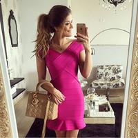 Women's Fashion Sleeveless Mermaid Bandages Dress Prom Dress [4919868164]