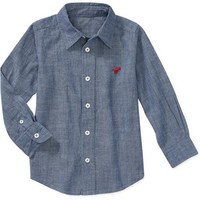 Wrangler Baby Toddler Boy Chambray Woven Shirt - Walmart.com