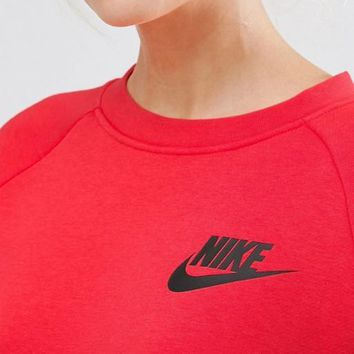 Nike Fashion Casual Trending Women Hot Long Sleeve Round Neck Sweater Red G
