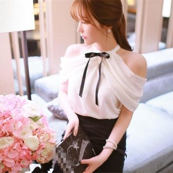 1pc Sweet Lady White Chiffon Shirts Tops Blouse Bowknot cold shoulder tops