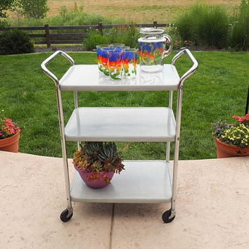 Mid Century COSCO Kitchen Cart, Rolling Trolley Cart, Serving Cart, Bar Cart | Gray Faux Bois and Chrome