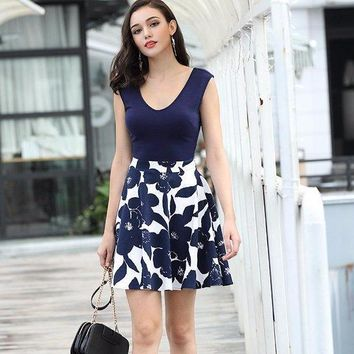 Women's Casual Flare Floral  Mini Dress  Contrast Evening Party Formal