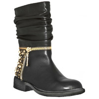 Vienna Black Leather Studded Zipper Boot by Bakers