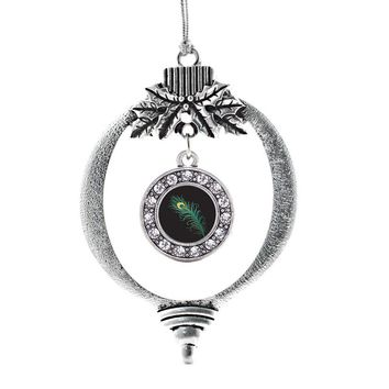 Peacock Feather Circle Charm Holiday Ornament
