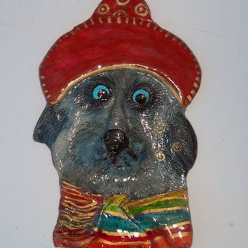 Jose  the Terrier - OOAK Ceramic Whimsical Dog Wall Decor