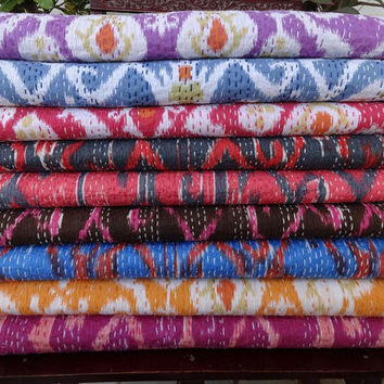 Free Shipping Wholesale Ikat Kantha Quilt  Handmade Ikat Kantha Bedspread,Full Double Size Ikat Kantha Bedspread,Indian Kantha Bedcover
