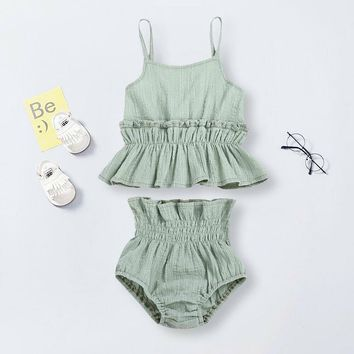 US Newborn Kid Baby Girl Linen Ruffle Top Shorts Pants Outfit Summer Clothes Set