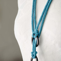Knitted fiber jewelry necklace with ebony wood rings, turquoise fiber necklace, blue knitted jewelry