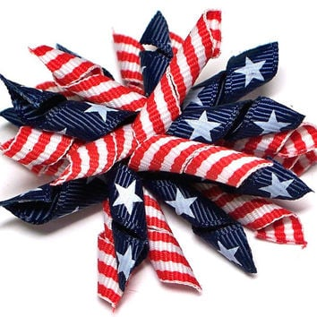 Stars N Stripes: dog hair accessory, dog bows in Patriotic theme ribbons