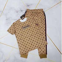 LV Louis Vuitton Women Short Sleeve Top Trousers Set Two-Piece