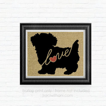 Morkie Love - Burlap Printed Wall Art, Silhouette, Dog, Pet, Rustic, Vintage, Shabby Chic, Wall Hanging, Art, Artwork, Print, Home Decor