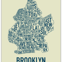Brooklyn Neighborhood Map Poster by Ork Posters