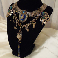 Crystal n silver necklace, Vintage Steampunk choker, Tribal Jewelry with brilliant blue crystals.