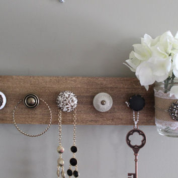 Jewelry organizer , necklace holder with knobs , knob jewlery holder , mason jar decor , mason jar vase , bedroom wall decor