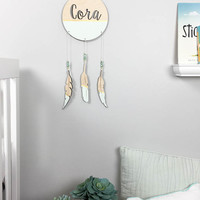 Custom Dream Catcher wall hanging personalized name in modern script font laser cut birch painted Mint and Gold with coordinating beads