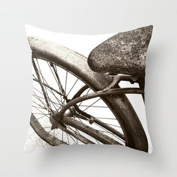 Vintage Bike Home Decor Throw Pillow by Stacy Frett