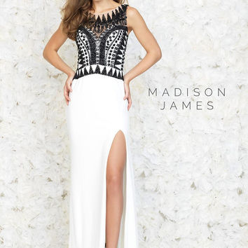 Madison James 15-134 Geometric Beaded Prom Dress Evening Gown