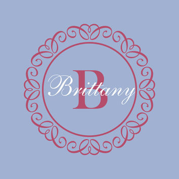 "Personalized Initial Monogram with Girl Name Curly Frame Wall Decal  Baby Nursery or Girl's Room Decor 22"" X 22"""