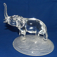 Trumpting Elephant Glass Figurine Paperweight Frosted Base