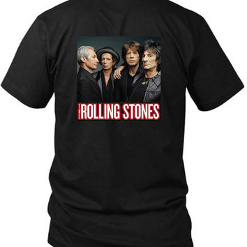The Rolling Stones Cover Photo 2 Sided Black Mens T Shirt