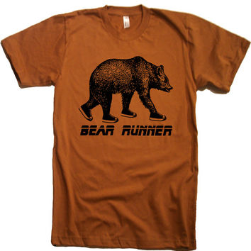 Mens Bear Runner T Shirt - American Apparel Tshirt - XS S M L XL and XXL (28 Color Options)