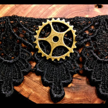Handmade Gear Steampunk Choker Black Lace Bronze Handcrafted Necklace Gothic Cog Jewelry Custom Length