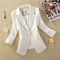 Ladies Long Sleeve Button Slim Casual Women Blazer Suit Jacket Coat Outwear
