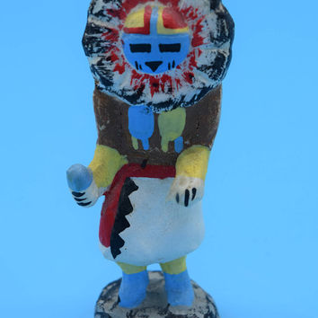 Miniature Native American Art Figurine Vintage American Indian Folk Art Figurine Masked Totem Paper Mache Wood Painted Statue Gift for Him