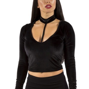 Black Longsleeve Velvet Crop Top with Choker Detailing