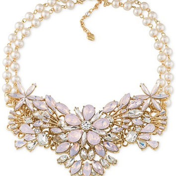 Carolee Gold-Tone Crystal and Imitation Pearl Statement Necklace