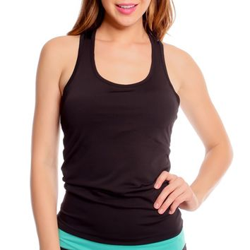 BLACK PADDED CHEST SCOOP NECKLINE SLEEVELESS WORKOUT TOP