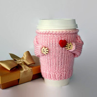 Valentine's coffee cozy. Girlfriend gift. Gift for her. Travel mug warmer. Pink red heart. Knit mug sweater. Mug cuff. Romantic gift.