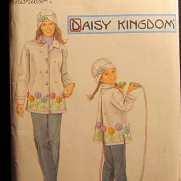 Sale Uncut/Cut Simplicity Sewing pattern, 5946! 3-4-5-6-7-8 XS/Med/Lrg/XL Toddlers/Girls/Kids/Child/Winter Hats/Winter Coats/Fleece Hats/Coa