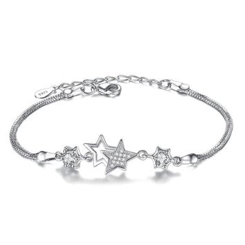 2017 New Arrival Sterling Silver Simple Fashionable Five-pointed Star Bracelet For Woman bracelets & bangles Pulseira VBS4049