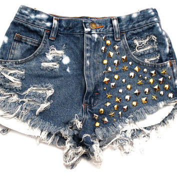Mixed Metal HighWaisted Shorts by Shopwunderlust on Etsy