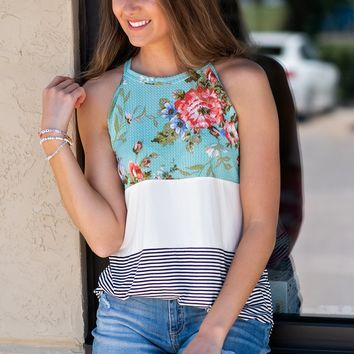 Better Than The Rest Color Block Top : Mint