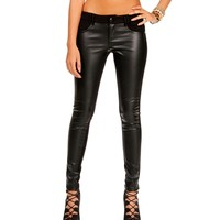 Sale-black Ponte Faux Leather Skinny