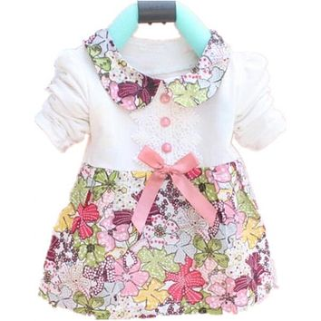 Toddler Baby Girls Floral Princess Dress Bowknot One Piece Kids Dress 0-2Y New