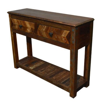 Reclaimed Wood Rustic Free Standing Console with Drawers