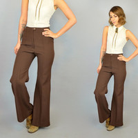 vtg 70s high waist WESTERN wide leg BELL BOTTOM 100% polyester trousers pants, extra small-small