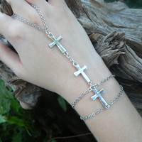 triple cross slave bracelet cross in Gothic Goth rocker Christian styles
