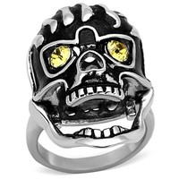 Ladies Topaz Crystal Skull Ring - 07217