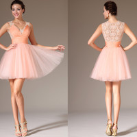 Custom Made New Lace-back Above-knee Length Party Homecoming Dress (04140910)