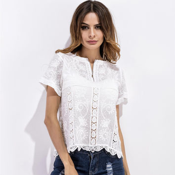 Fashion  Hollow Lace Perspective Short Sleeve T-shirt Tops Beach Smock