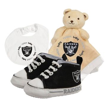 Oakland Raiders NFL Infant Blanket Bib and Shoe Deluxe Set