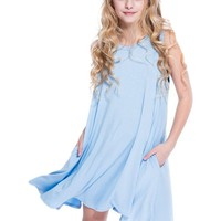 Tween Aline Dress with Side Pocket, Seafoam